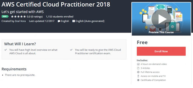 [100% FREE] AWS Certified Cloud Practitioner 2018