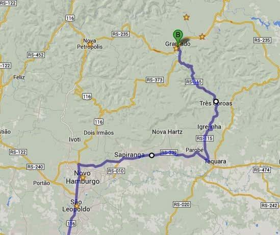 Mapa Gramado Via Taquara