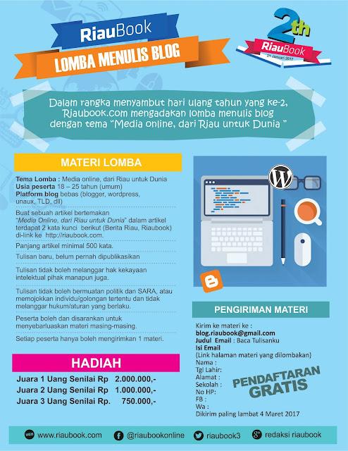 "Poster lomba Blog, Riaubook.com ""Media Online, dari Riau untuk Dunia"""