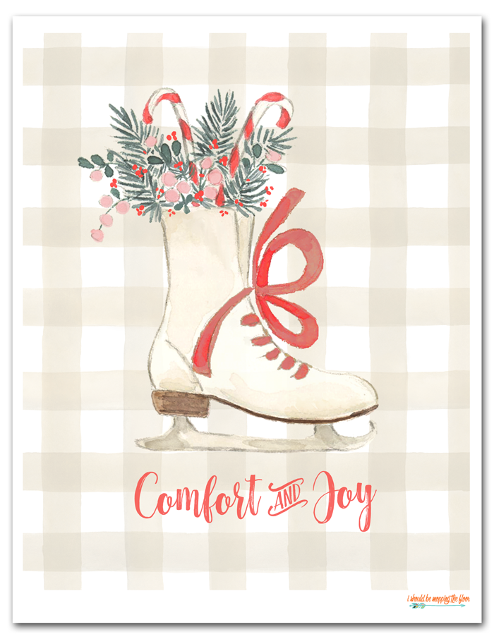 Free Christmas Printable | This watercolor, buffalo check, ice skate printable brings heaps of comfort and joy to your holiday decor.