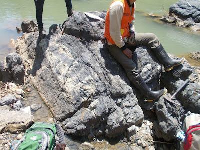 SIKLUS BATUAN - GEOLOGI - EFBUMI - Singkapan Filit - jenis batuan Metamorf - di sungai luk ulo - Karangsambung - Jawa Tengah