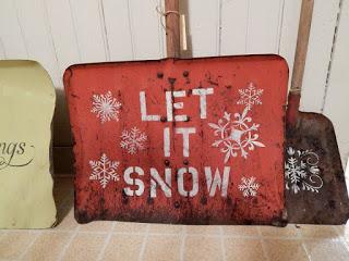 stenciled snow shovels