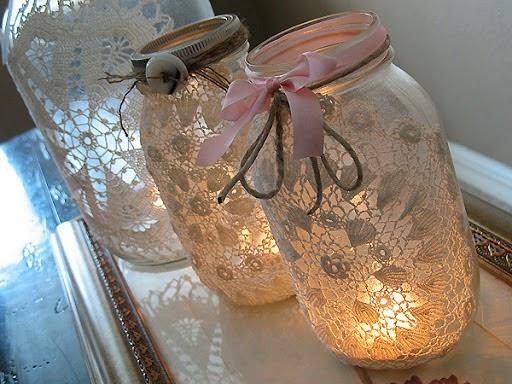 doily wedding luminaries
