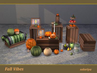 Fall Vibes Урожай тыкв для: The Sims 4 Комплект Fall Vibes подарит вам осеннее настроение. В наборе 4 цветовых вариации и 14 предметов. Объекты в наборе: - журнальный столик с тыквами - ящик на тумбочке - тыквы под стеклом - два вида свечей - кресло-ящик - декоративный стол с тыквами - три декоративные композиции - два вида листьев под стеклом - два вида тыквенной пищи. Автор: soloriya