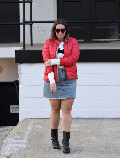 body positive style blogger plus size fashion sweater and denim skirt