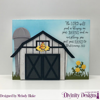 Farmer's Prayer, Stamp/Die Duos: Farm Friends, Custom Dies: Barn, Grass Lawn, Leaves and Branches, Pretty Posies, Paper Collection: Weathered Wood