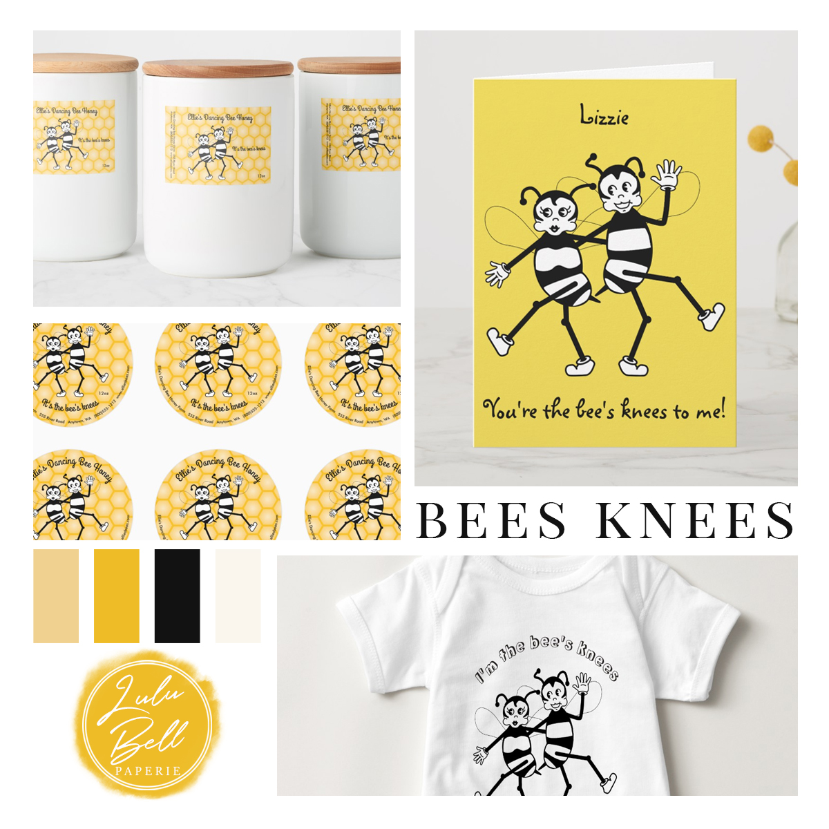 Retro dancing black and white bees and yellow honeycomb patterned background. On honey jar labels, stickers, greeting cards, and apparel. It's the bees knees! In black amber and yellow color palette.