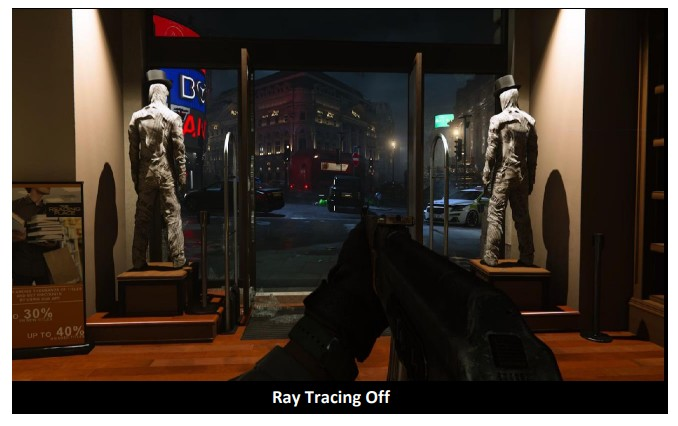 Call Of Duty game before activating the Ray Tracing feature