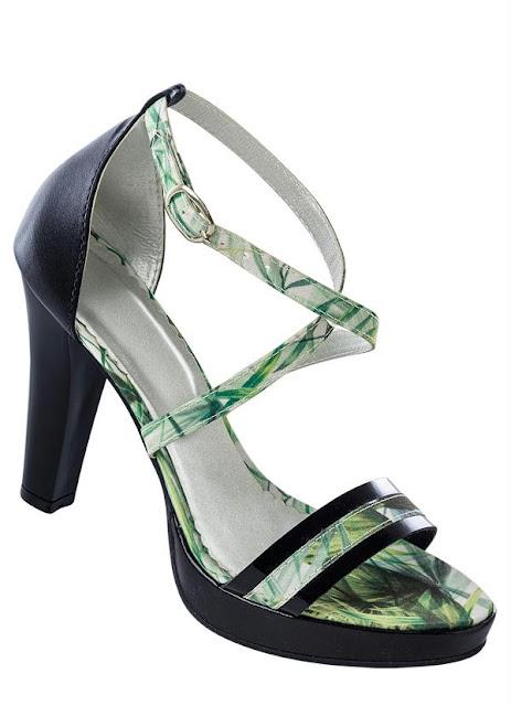 Moda Sandália Meia Pata Preta e Verde