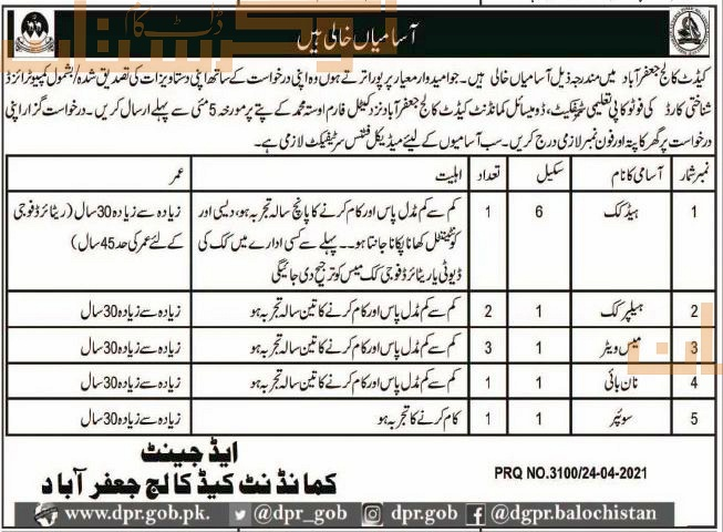 private,cadet college jaffar abad,head cook, helper cook, mess waiter, sweeper,latest jobs,last date,requirements,application form,how to apply, jobs 2021,