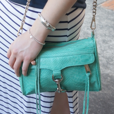 navy stripe maxi skirt, Rebecca Minkoff aquamarine snake embossed mini MAC bag | AwayFromTheBlue