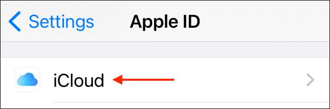 اضغط على iCloud من الإعدادات
