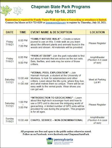 7-16/17/18 Chapman State Park Programs