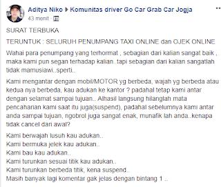 Surat Terbuka dari Driver Ojek Online Buat Customer
