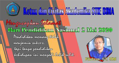 Selamat Hardiknas dari Ketua dan Civitas Akademika STIE Bima