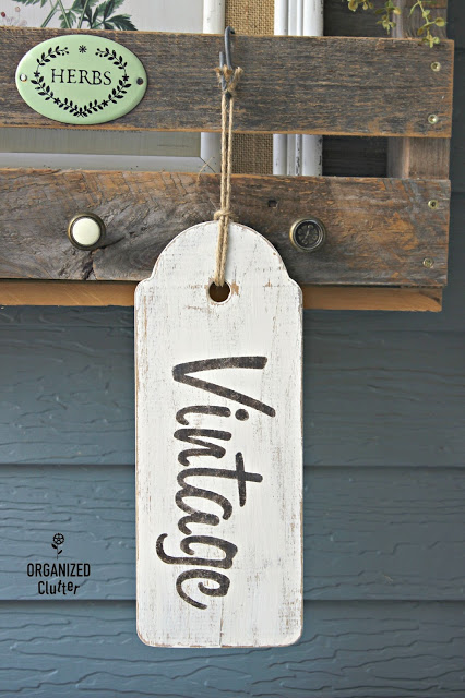 Photo of a wooden tag sign made from a cutting board