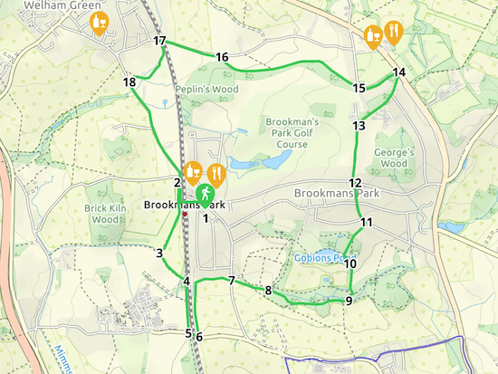 Map for Walk 10: Brookmans Park Loop Created on Map Hub by Hertfordshire Walker Elements © Thunderforest © OpenStreetMap contributors There is an interactive map embedded at the end of these directions