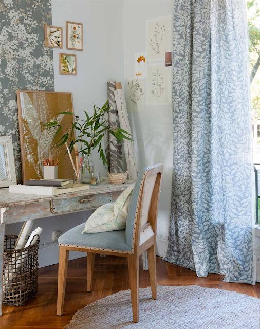 cortina a juego con papel pintado