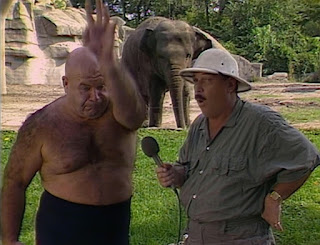 WWE / WWF Saturday Night's Main Event 2 - George Steele does his elephant impression for Mean Gene