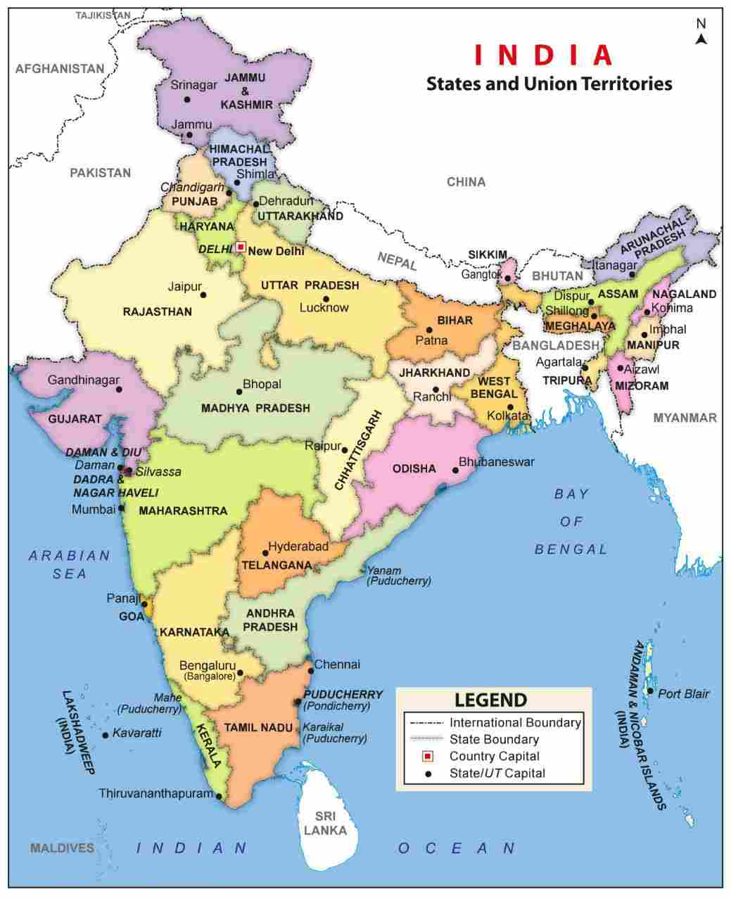 India Map with States and Capital PDF & Image Download