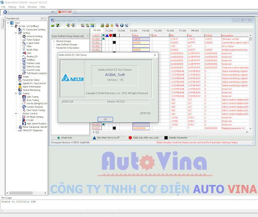 Phần mềm ASDA-Soft V6 dùng cho Servo A3 và B3