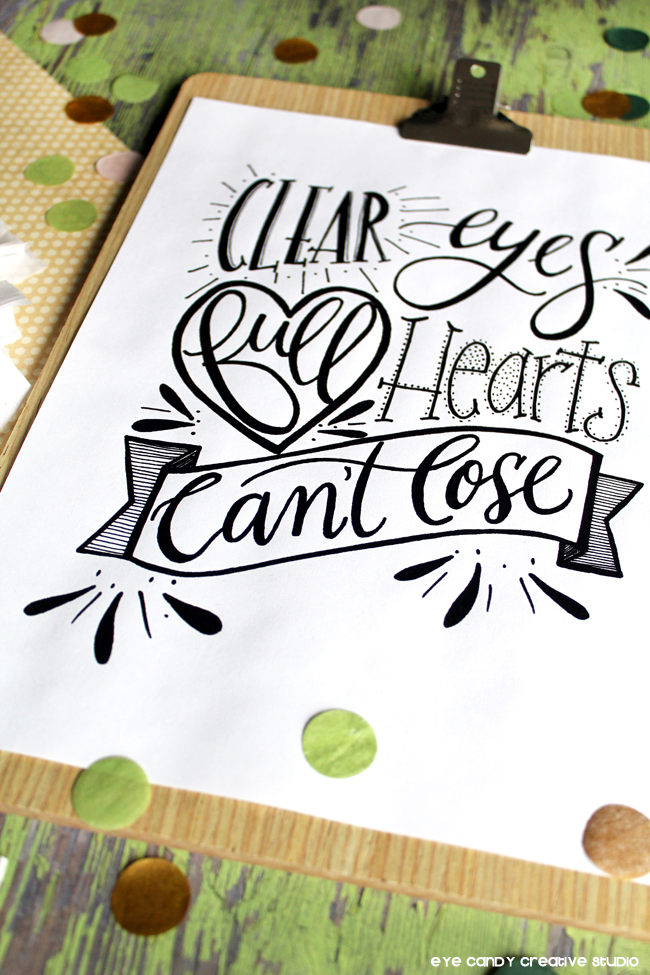 full hearts, football print, friday night lights, hand lettered art print