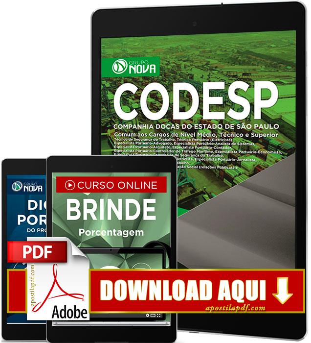 Apostila CODESP 2017 PDF Download Comum a Todos os Cargos Grátis Curso Online