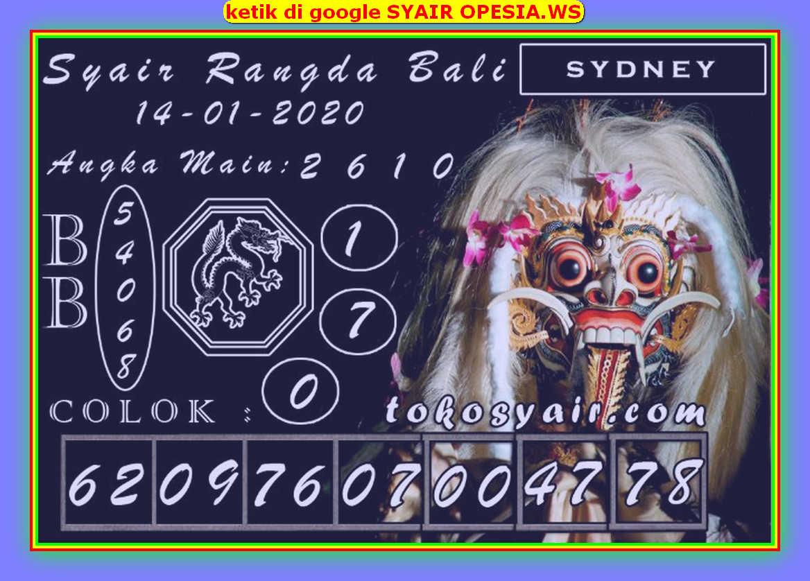 Kode syair Sydney Selasa 14 Januari 2020 98