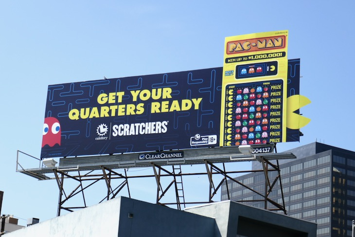 quarters California Lottery PacMan Scratchers billboard