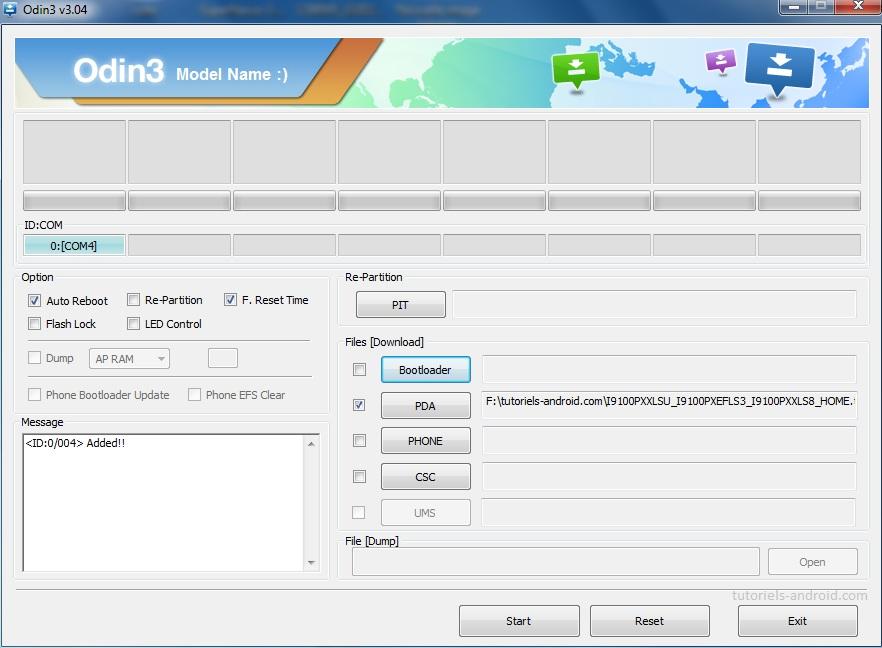ODIN : flasher le fichier TAR de la ROM I9100PXXLSU