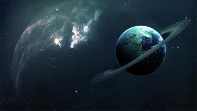 Imagem artística da Terra com anéis
