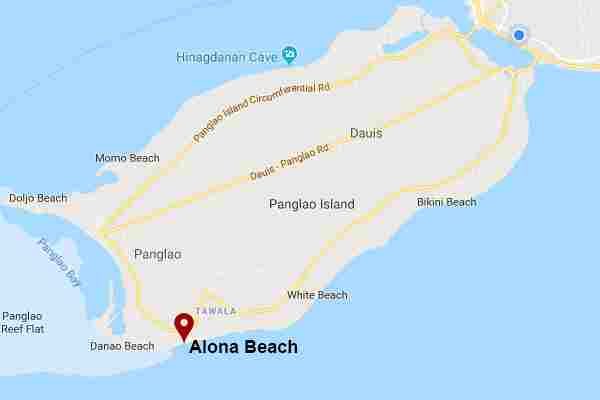 Best and Famous tourist spots  white beach in alona panglao bohol philippines 2018  Map