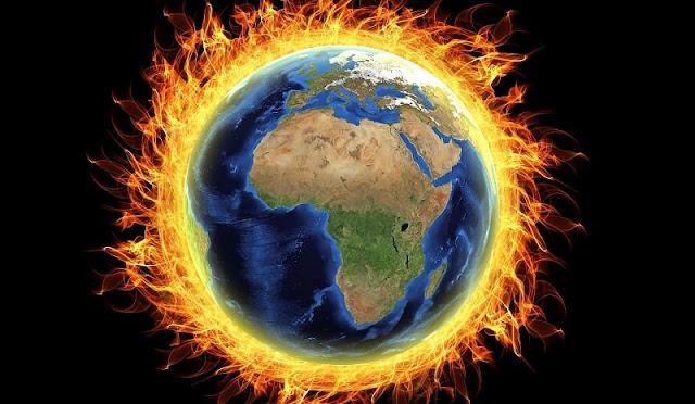 ilustrasi planet bumi terbakar