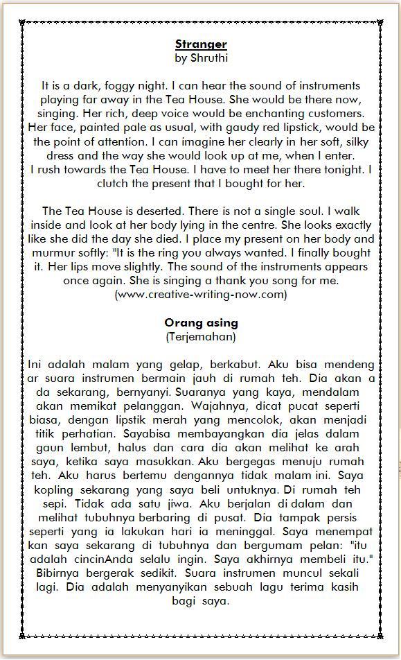 Cerita Pendek dalam Bahasa Inggris