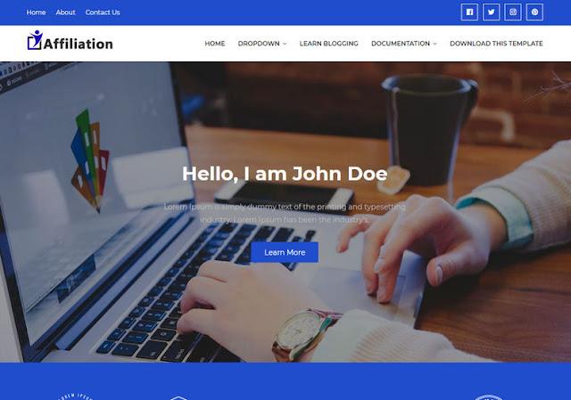 Affiliation шаблон для одностраничного сайта 2019