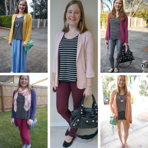5 ways to add a bright topper to a black and white striped tank outfit ideas awayfromtheblue