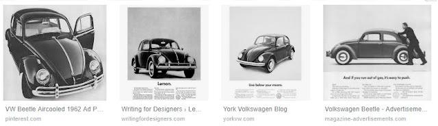 Stara reklama Volkswagena Beetle.