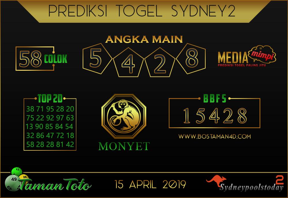 Prediksi Togel SYDNEY 2 TAMAN TOTO 15 APRIL 2019