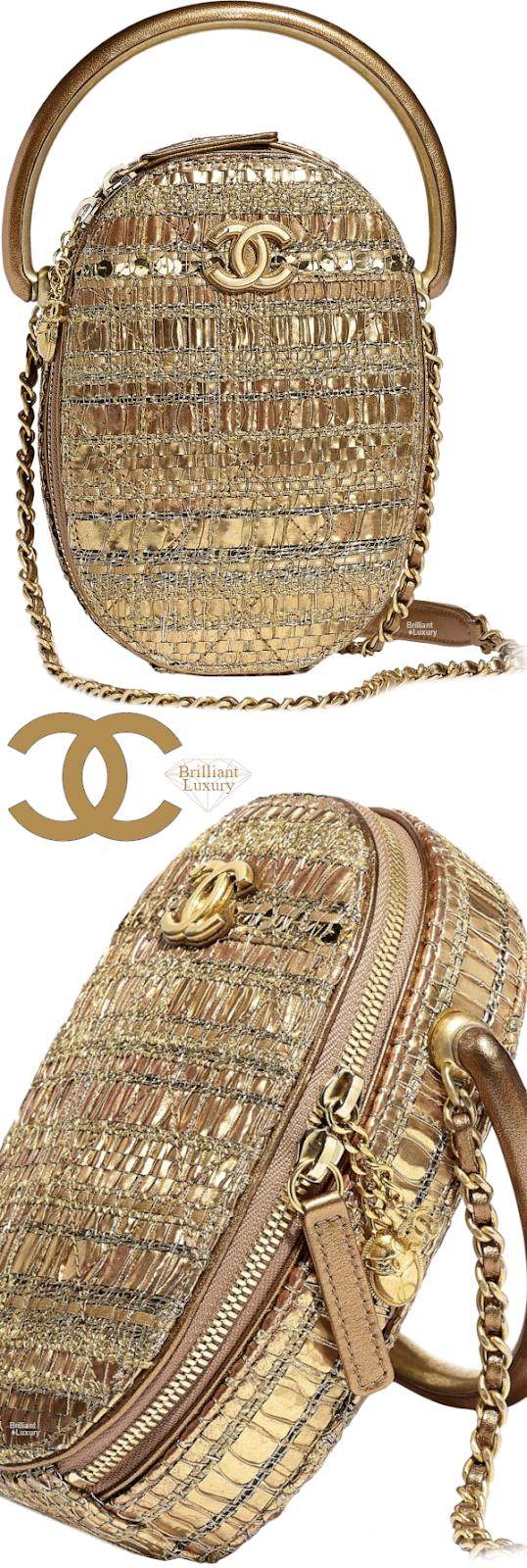 Brilliant Luxury♦Chanel Tweed Camera Case Bag #gold