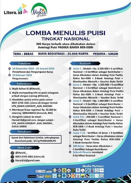 LOMBA MENULIS PUISI TINGKAT NASIONAL ll PADIKA RAHSA BER-ISBN .