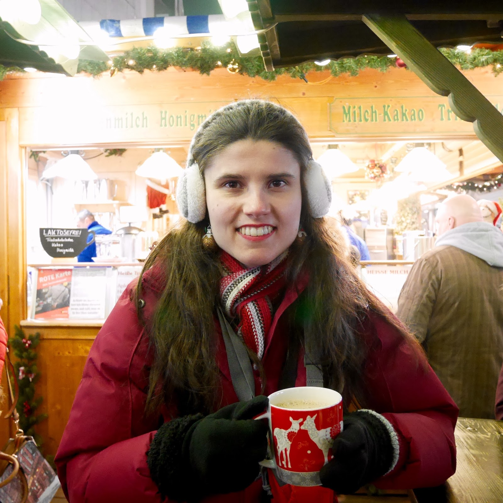Drinking hot chocolate at the Munich Christmas Markets