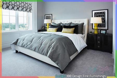 سجادة رمادية داخل غرفة نوم