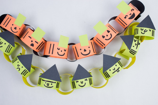 how to make easy paper witch and pumpkin chains with kids for DIY Halloween decor