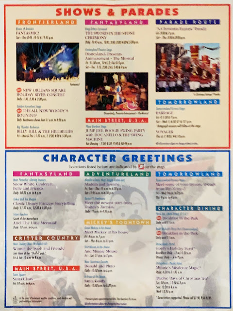 Shows and Parades Character Greetings Disneyland Map December 1999