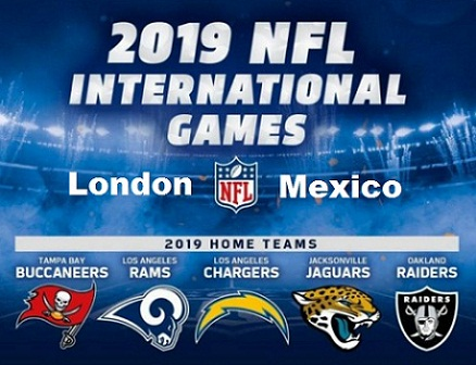 NFL International games 2019, matchups, NFL London games, nfl Mexico games, dates, venues.