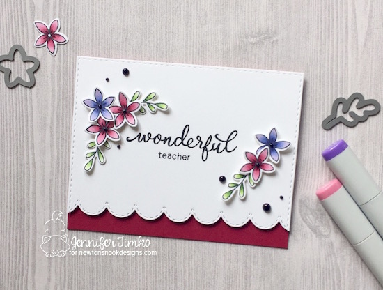 Wonderful teacher card by Jennifer Timko | Simply Relative & Lovely Blooms Stamp sets by Newton's nook Designs #newtonsnook