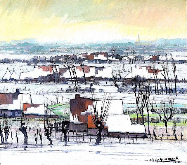 Achiel Van Sassenbrouck art 1937, a Dutch winter scene