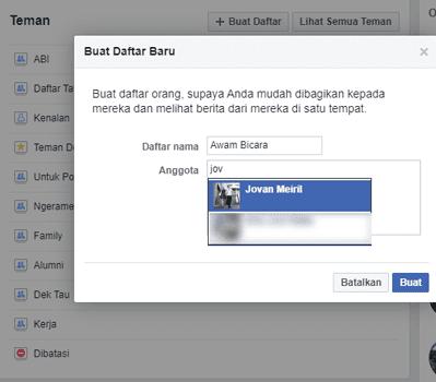 Menggunakan Daftar Facebook untuk Kontrol Lebih Lanjut