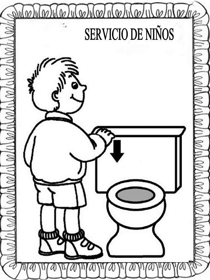Material educativo para maestros carteles ba os para colorear - Carteles para banos ...