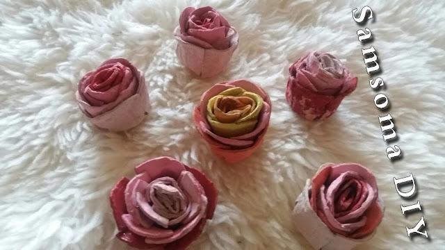 صنع ورود من كرتون البيض . اعادة تدوير كراتين البيض . How to Make Egg Carton flower . How to Make Egg-Carton Roses Tutorial . DIY Room Decor .   fleur en carton d'oeufs . لا ترمى كرتونة البيض بعد الان . الاستفادة من كرتون البيض .
